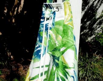 Multi Color Tropical Print Canvas Shoulder Bag