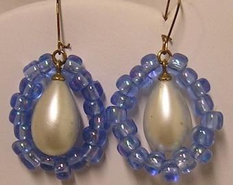 Pearl Earrings, teardrop with Blue beads