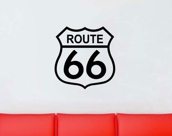 Route 66 wall decal vinyl sticker wall art mural available in 7 different sizes and 30 different colors