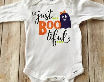 Baby Girl Halloween Outfit - Just Boo-tiful Halloween Bodysuit - Ghost Bodysuit - Ideas for Halloween