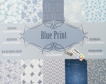 small Blossomy with 30 sheets, 10 themes each 3 x, scrapbooking paper scrapbook paper pad (blue print)
