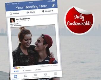 Facebook Frame Fully Customised Photo Booth Prop (Digital File) Facebook Prop