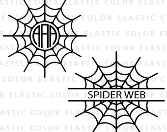 Spider web monogram file - spider mongram clipart - spider web silhouette cameo - cricut download svg, eps, dxf, png