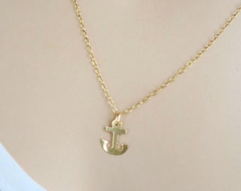Anchor Necklace Gold, Sterling Silver or 14k Gold Fill Delicate Chain, Minimal Dainty Necklace, Simple Gold Everyday Jewelry, just1gold