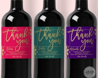 Thank You Wine Label, Custom Champagne Label, Bridal Shower Thank you, Hostess Gift, Unique thank you, Wedding Party Gift, Thank You Gift,