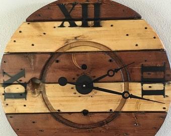 Wooden spool clock, large hanging wall clock, clock, wooden clock, oversized hanging wall clock, Roman numerals, rustic clock, wall clock