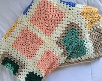 56x74 Granny square crocheted afghan