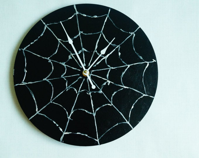 Spiderweb Wall Clock - Black Wall Clock- acrylic Art - Minimalist Wall Clock- Unique Wall Clock- Halloween clocks