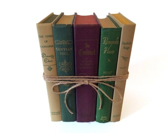 Purple Green and Beige: Decorative Vintage Books for Home Decor, Wedding Decor, Photography Prop, Instant Library