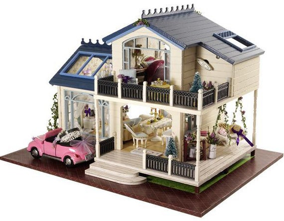 Provence Lavender Dollhouse Diy Kit Cute Room House Model With