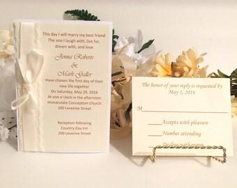Ivory Invitation Set With Lace & Satin Ribbon For Wedding/Birthdays/Holidays