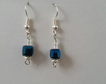 Blue cubed dangle earrings