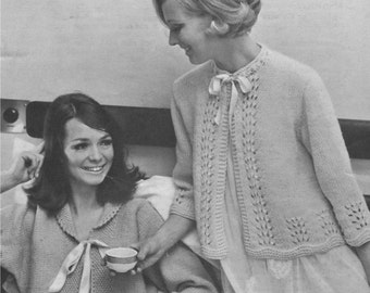 Womens Bedjacket Knitting Pattern in 2 Designs : Ladies 36 , 38 , 40 and 42 inch bust . Bed Jacket . PDF Knitting Pattern . Digital Download