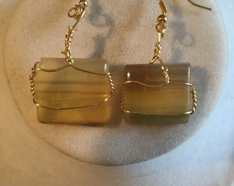Multicolored flourite untreated gemstone earrings