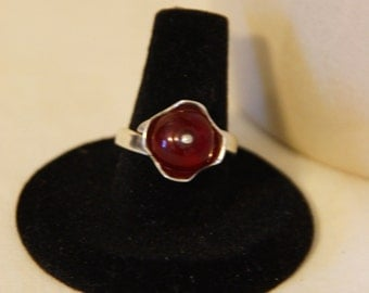 Baltic Amber Ring set in 925 silver, size 7.75
