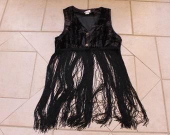 Vintage BUSY GIRL Black Fringe Vest       Sz M