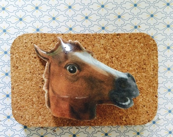 Funny horse mask brooch gift idea for him her