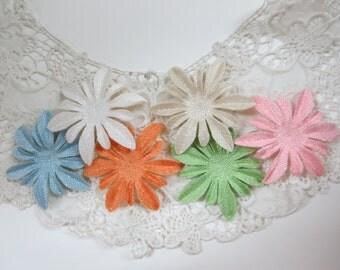Cute Vintage Flowers Cotton Cloth Tweed Felt *PACK OF 12* pink, green, blue, orange, white, beige
