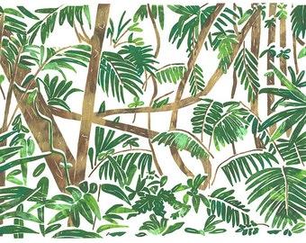 Hand Printed Rainforest Screen Print A4