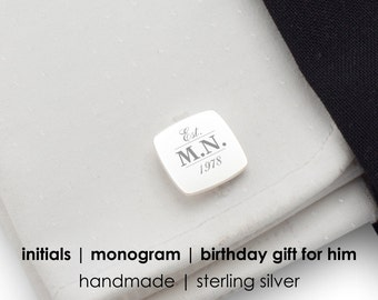 Silver Cufflinks Birthday gift for husband Custom cufflinks,Sterling Silver,Engraved cufflinks,Initials Cufflinks,Birthday Gift,Bitcoin