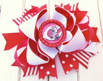 Cincinnati Reds Bottlecap Hairbow, Cincinnati Reds bow, Cincinnati Baseball, Cincinnati Reds outfit, Cincinnati Reds Gear