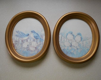 """Vintage oval picture frame set (2) with bluebirds 61/2"""" W X 71/2"""" H Small"""