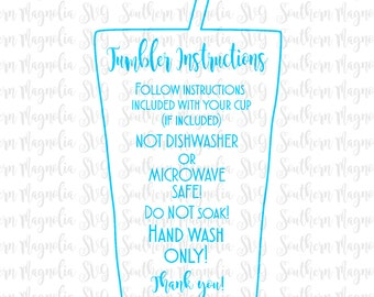 Tumbler Cup Care Card Instructions - Print and Cut File - Silhouette - Cricut - Care Instructions - SVG - Design - File ONLY