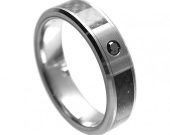 SPECIAL DEALS! Black Diamond 0.07ct Solitaire Wedding Band, 6mm with Black Carbon Fiber Inlay, Tungsten Carbide Anniversary Ring Size 12