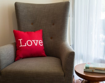Ruby Red Love Word Pillow