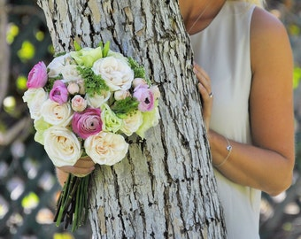 DIY Wedding Flower Package, Fresh Flowers, Blush Wedding, Bridal Bouquet, Queen Anne's lace, Pink Ranunculus, Country Wedding