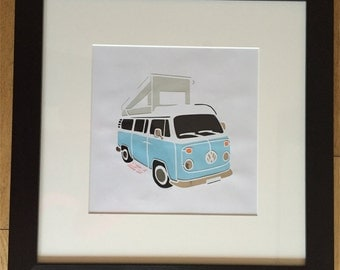 VW Camper Van - A downloadable paper cut to print and cut yourself