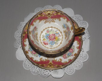 """Vintage Shelley Tea Cup and Saucer """"Sheraton"""""""