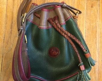 Vintage Hunter Green Dooney & Bourke Bucket Bag