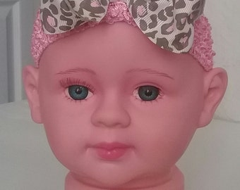 Pink baby headband with multi bow