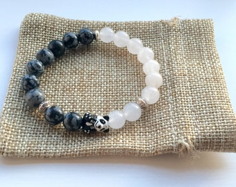 Panda Bracelet with Hand Painted Ceramic Panda with White Jade and Obsidian Gemstone Beads makes for a beautiful Panda gift