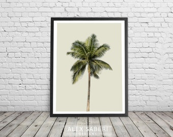 Palm Trees print, Paradise, palms,  Brazil, modern, tropical prints, palm tree posters, yellow, cream, Caribbean, holidays