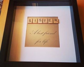 "Handcrafted Scrabble Tile ""Sister"" Photo Frame"