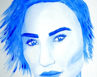 One color watercolor portrait
