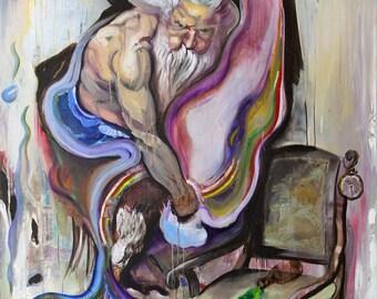 """Oil painting,""""Metamorphosis"""", figurative art, contemporary art, large format painting, surrealism, portrait, oil on canvas, unique painting"""
