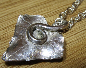 Fine silver ivy leaf pendant on sterling silver chain