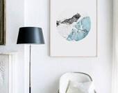 Icebergs. Snow mountains. Printable Scandinavian Art. Ocean in circle. Nordic Poster, Minimal Geometric artwork. Modern Geometric. Instant.