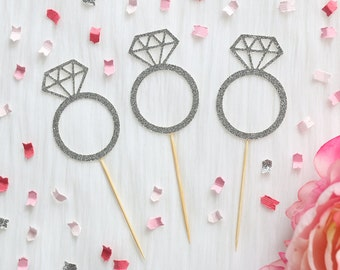 Diamond Ring Cupcake Toppers (Set of 12) | Engagement Party | Bridal Shower Decor | Wedding Cupcake Toppers | Glitter Cupcake Toppers