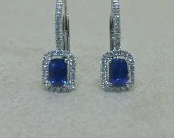 Sapphire Earrings - Diamond Earrings - Sapphire and Diamond Earrings - Vintage Earrings- Vintage Sapphire - Vintage Diamonds