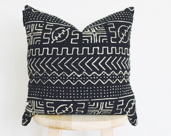 """African Black Mudcloth Pillow Cover, boho, mud cloth, vintage, gift for her, """"Shaka"""" 18 x 18"""