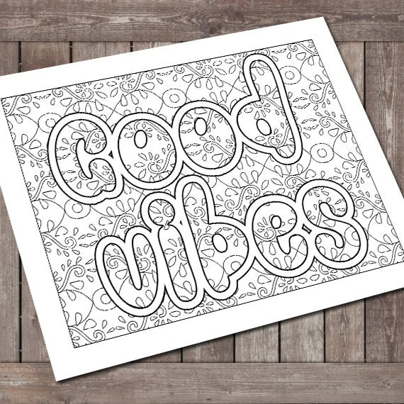 Coloring Book Good Vibes Stress Free Adult Coloring By