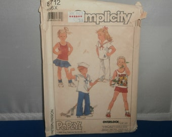 Simplicity Sewing Pattern 8712 Popeye Child's Top Pants Shorts Skirt Size 6x