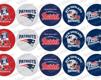 """New England Patriots Bottlecap Images, 1"""" Circle Images, 4x6 Collage Sheet, Football Images, Digital Collage Sheet, Cupcake Toppers"""