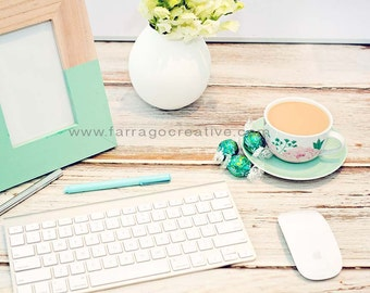 Light Green/Teal marketing photo, stock photo, stock photography, keyboard, mouse, tea