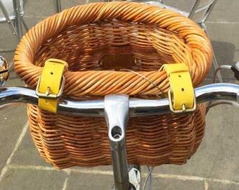 Yellow bicycle basket straps (pair)
