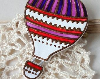 hot air balloon fridge magnet, refrigerator magnets, hand paint